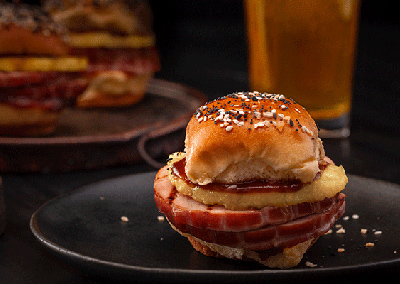 BBQ Grilled Ham and Pineapple Sliders