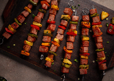 Ham, Pineapple & Pepper Skewers