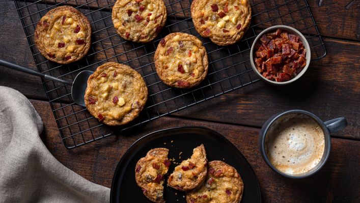 Maple Bacon, White Chocolate & Macadamia Cookies