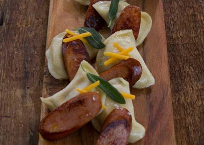 Perogies with Smoked Sausage and Sage Butter