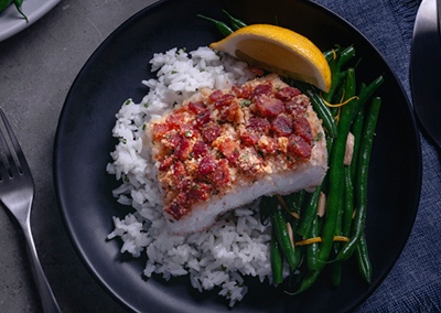 Bacon and Fresh Herb Crusted Atlantic Cod