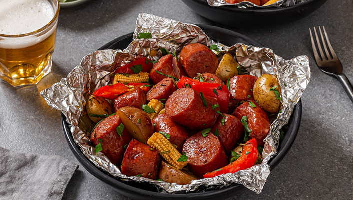 Smoked Sausage and Vegetable Packets - Schneiders