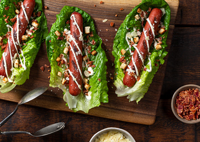 Caesar Dog Lettuce Wraps