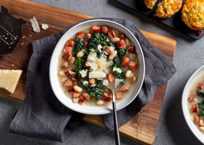 Italian-Style Spicy Sausage, Kale and White Bean Soup