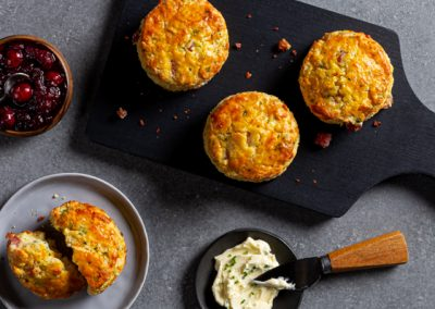 Smoky Ham, Cheddar and Chive Scones