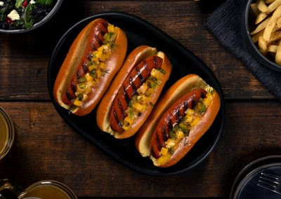 Grilled Smoked Sausages with Butternut Squash Relish