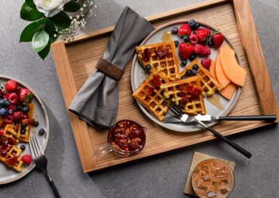 Waffles with Bacon-Infused Syrup